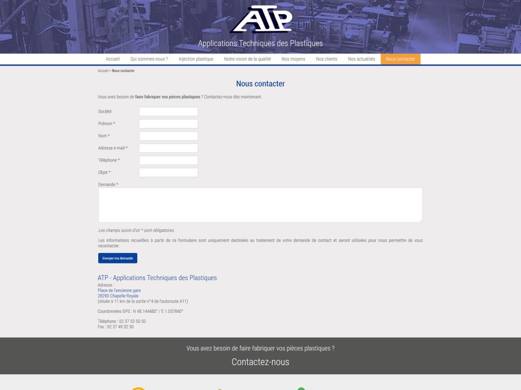 Page contact avec formulaire et carte de localisation sur le site internet d'ATP