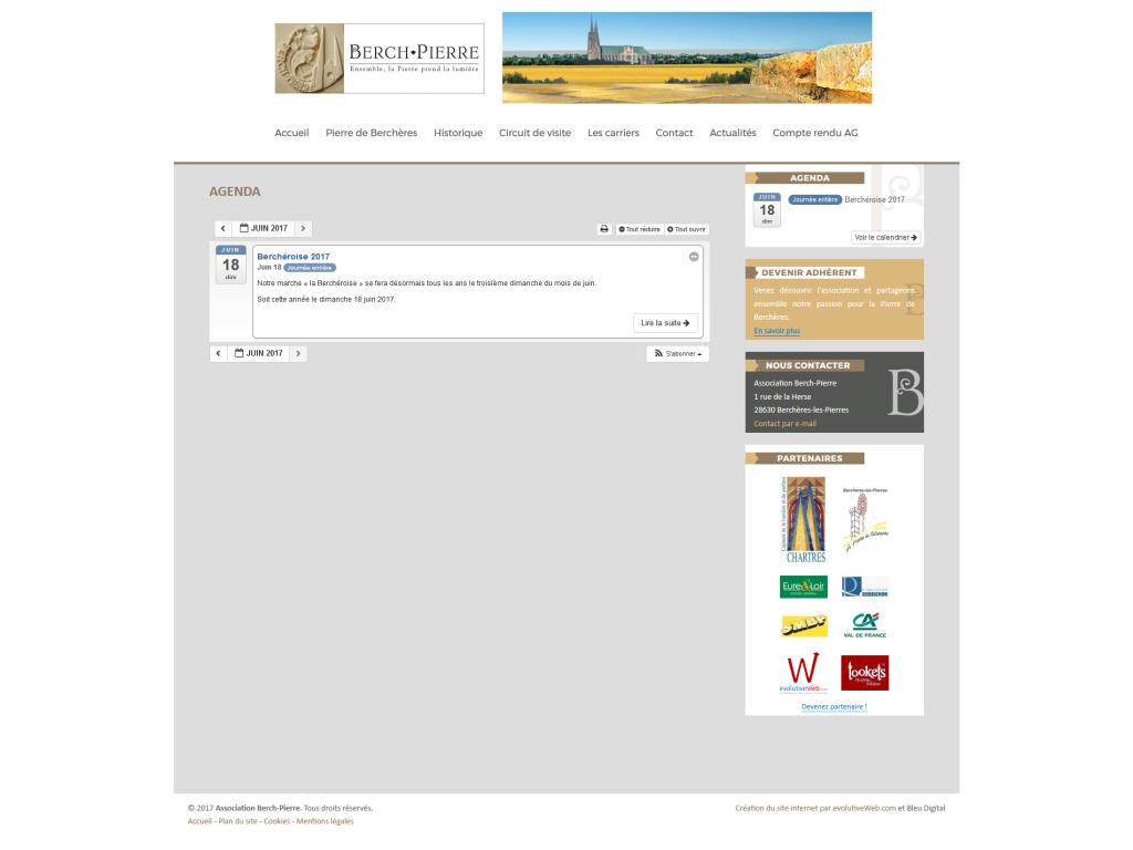 Agenda des évènements sur le site internet de Berch-Pierre