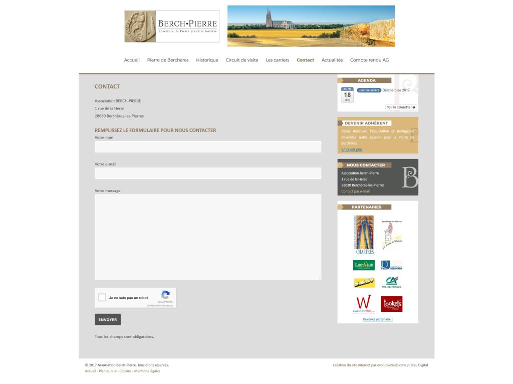 Formulaire de contact avec anti-spam reCaptcha de Google sur le site de Berch-Pierre