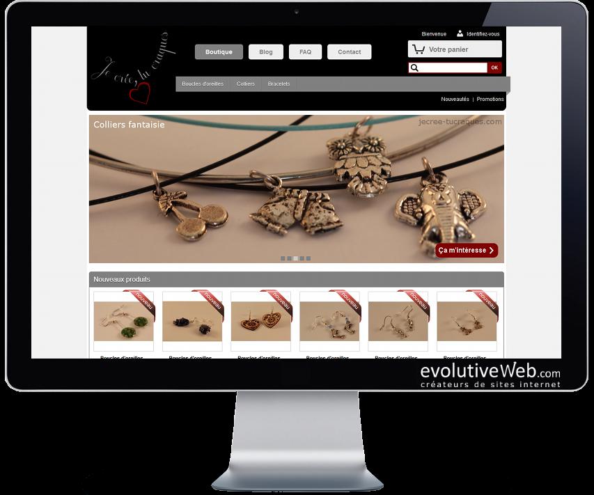 Boutique en ligne d'une créatrice de bijoux fantaisie