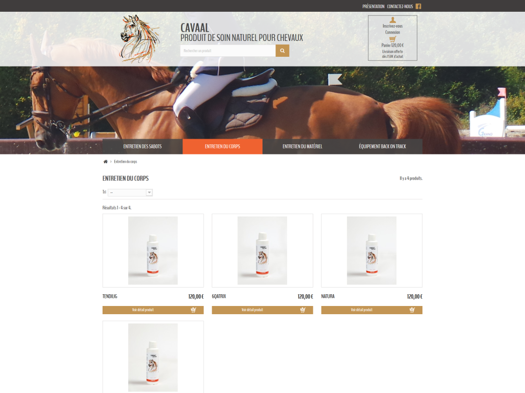 Page d'une catégorie avec des produits sur la boutique en ligne de Cavaal