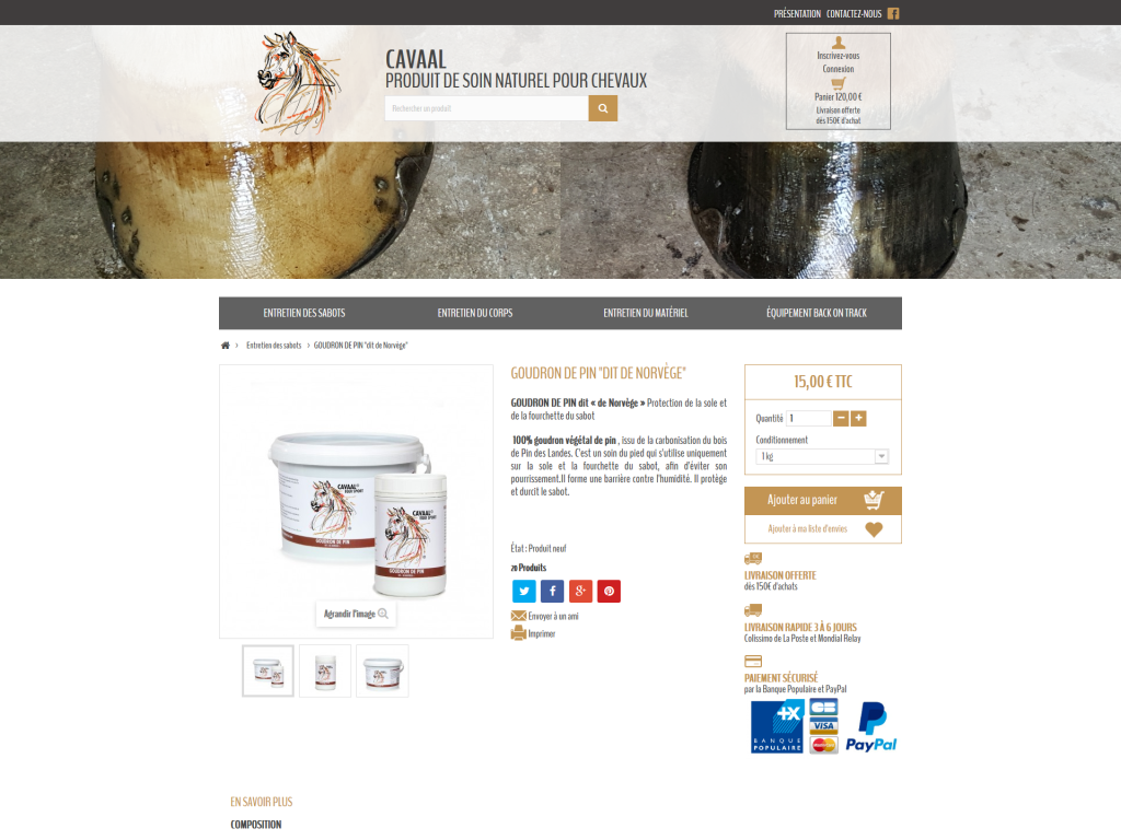 Page d'un produit sur la boutique en ligne de Cavaal