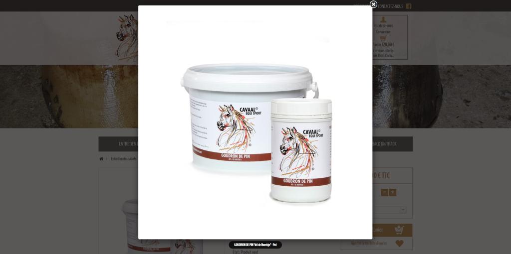 Zoom sur une photo d'un produit sur la boutique en ligne de Cavaal