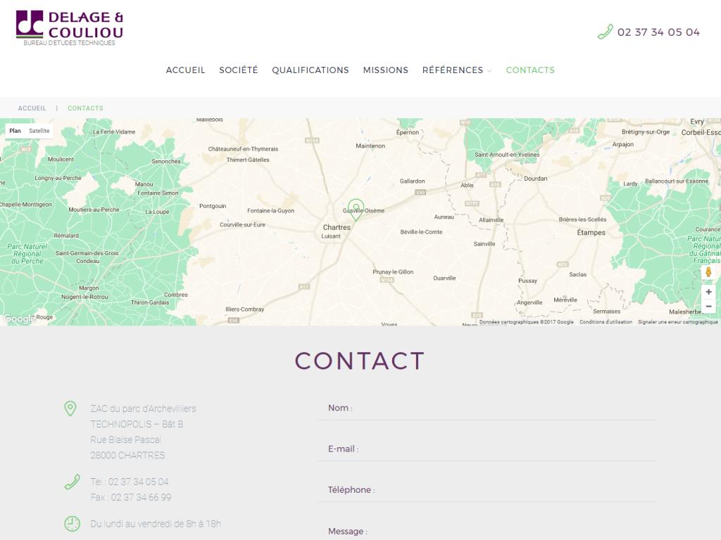 Page de contact avec carte de localisation Google Maps et formulaire