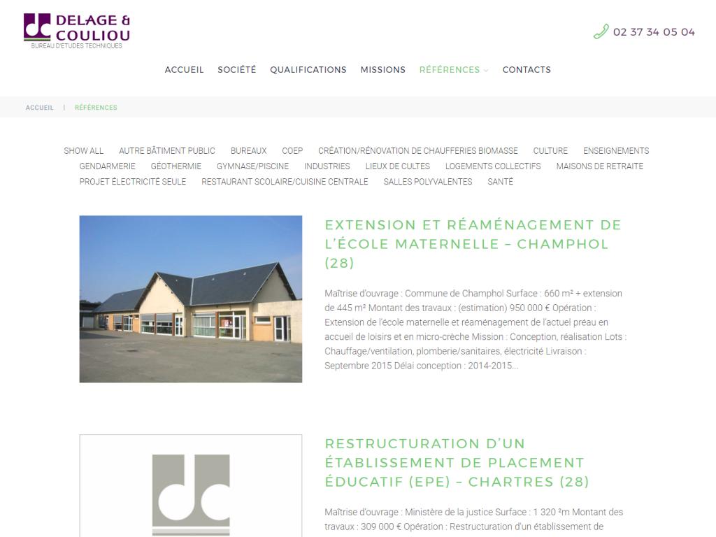 Partie références clients sur le nouveau site internet de Delage et Couliou