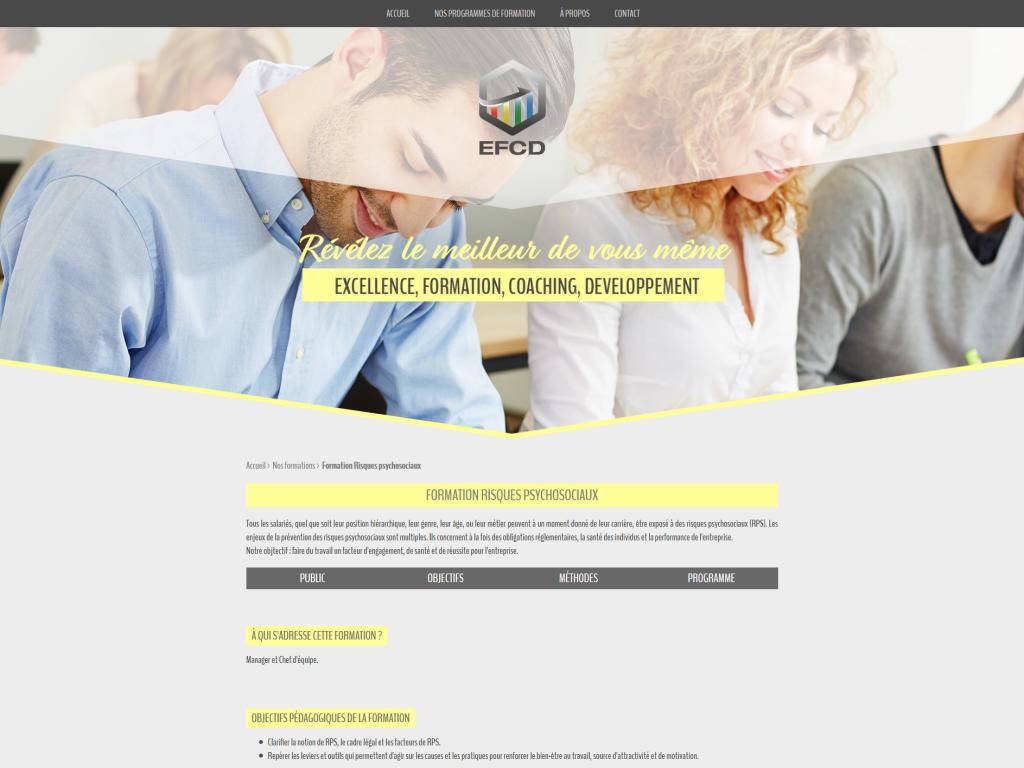Page d'une formation sur le site internet du cabinet de formation EFCD