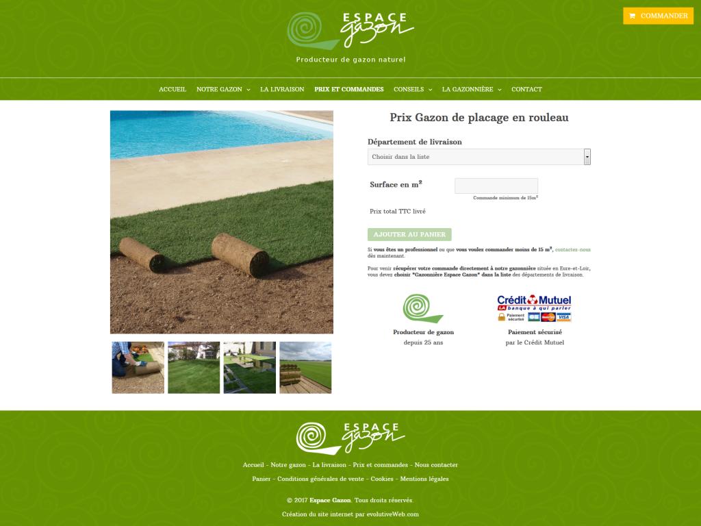 Page de la vente en ligne du gazon en rouleau sur le site internet de Espace Gazon
