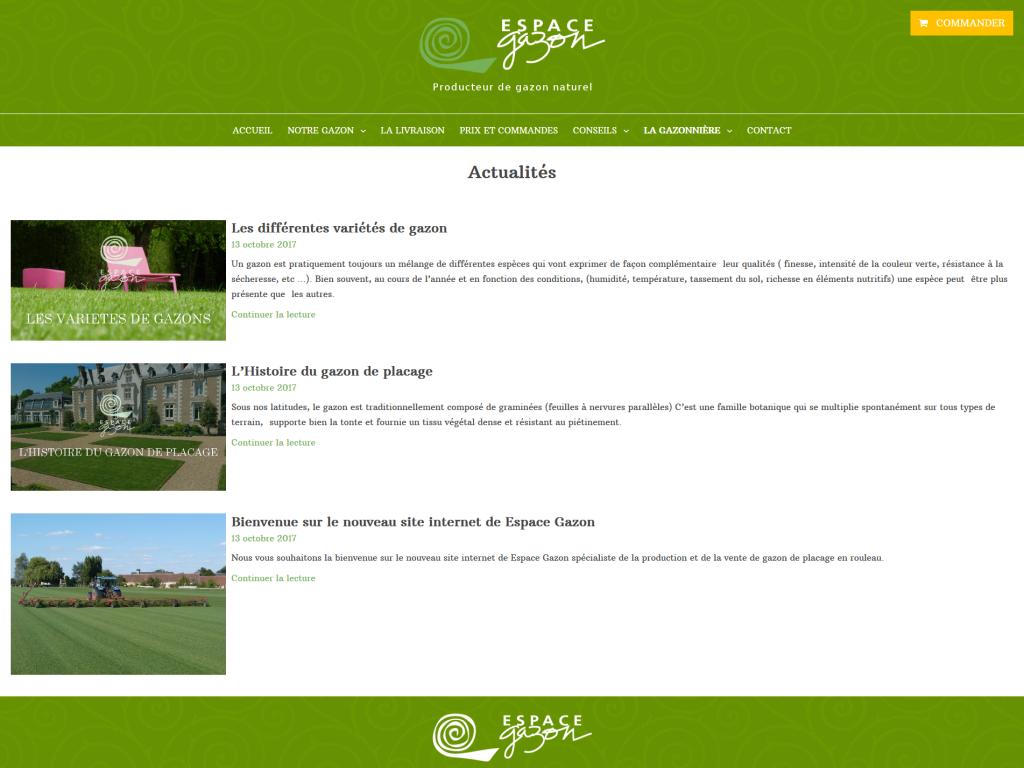 Partie actualités sur le site internet de Espace Gazon