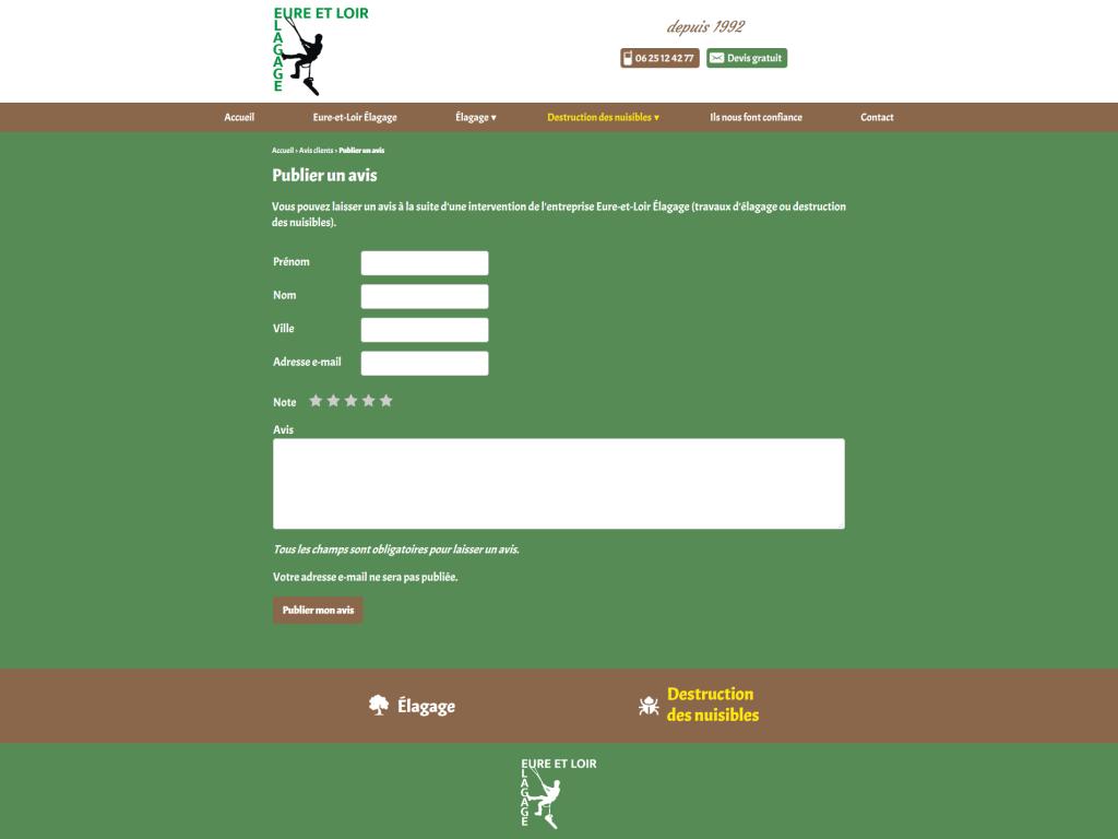 Formulaire d'avis client sur le site internet de Eure-et-Loir Élagage