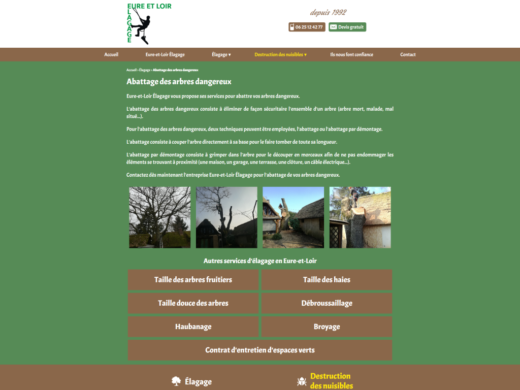 Page abbatage des arbres dangereux sur le site internet de Eure-et-Loir Élagage