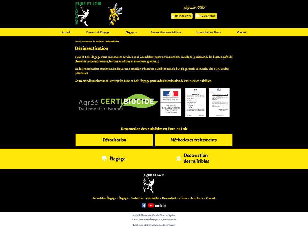 Page desinsectisation sur le site internet de Eure-et-Loir Élagage