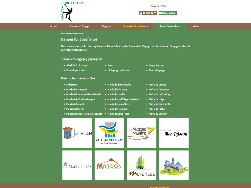 Page des références clients sur le site internet de Eure-et-Loir Élagage