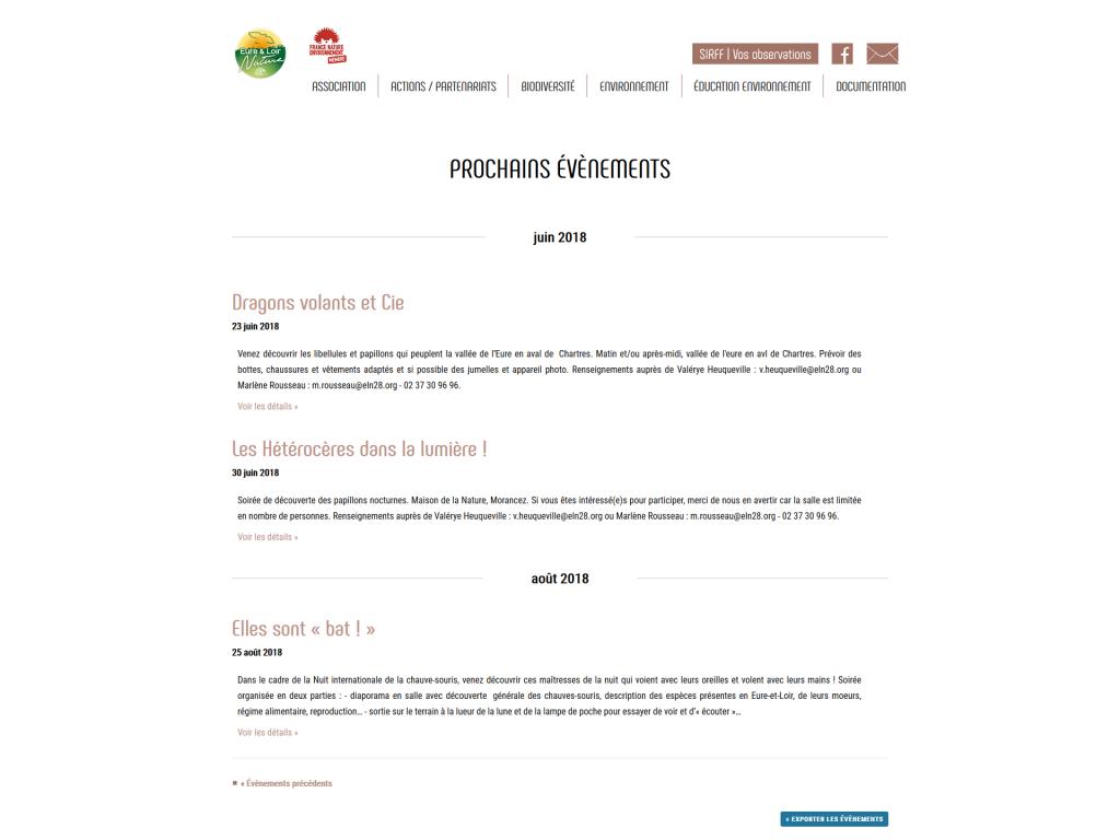 Agenda des évènements sur le site internet d'Eure-et-Loir Nature