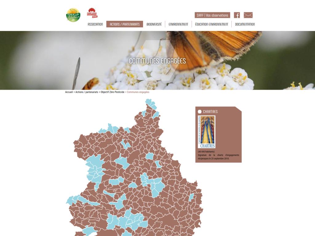 Carte interactive du département sur le site internet d'Eure-et-Loir Nature