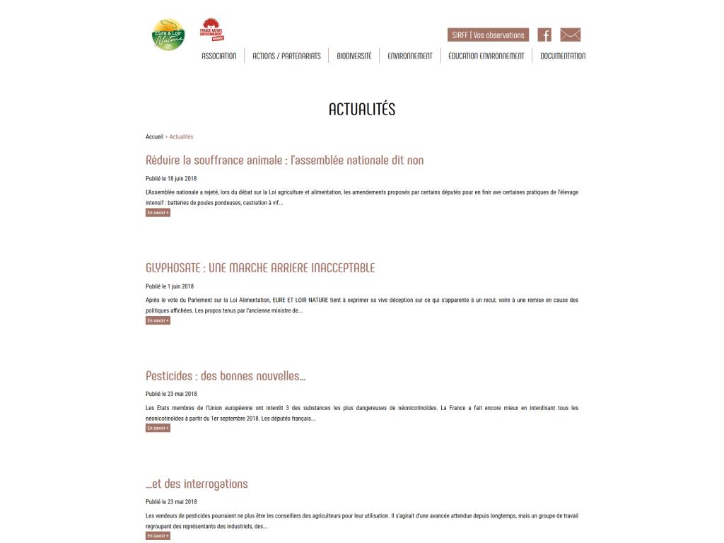 Partie des actualités sur le site internet d'Eure-et-Loir Nature