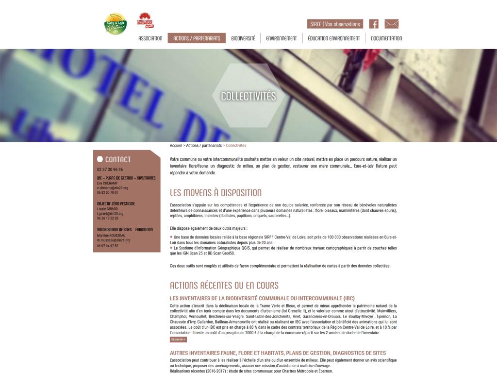 Exemple d'une page sur le site internet d'Eure-et-Loir Nature