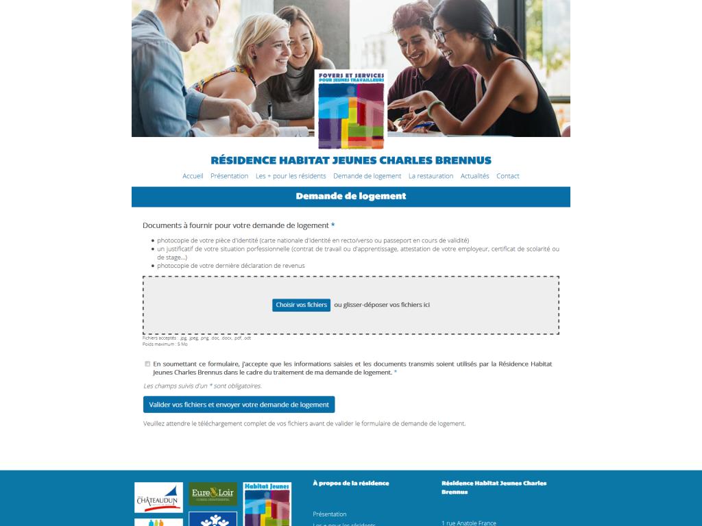 Formulaire de demande de logement en ligne avec envoi des documents sur le site internet de la Résidence Habitat Jeunes Charles Brennus à Châteaudun