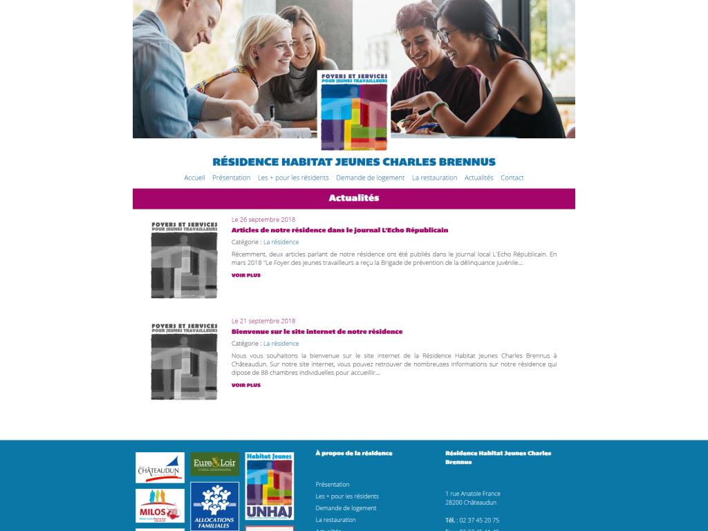 Rubrique des actualités sur le site internet de la Résidence Habitat Jeunes Charles Brennus à Châteaudun