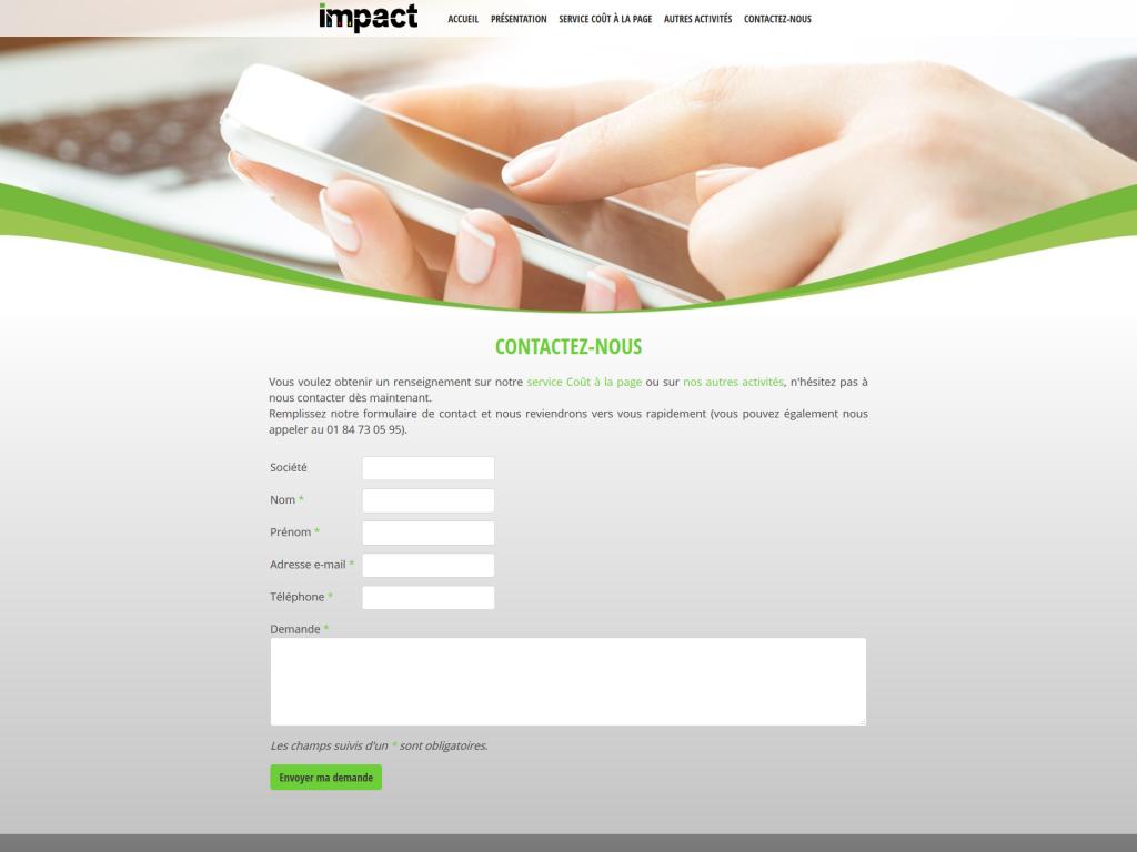 Page contact avec un formulaire sur le site internet de la société Impact