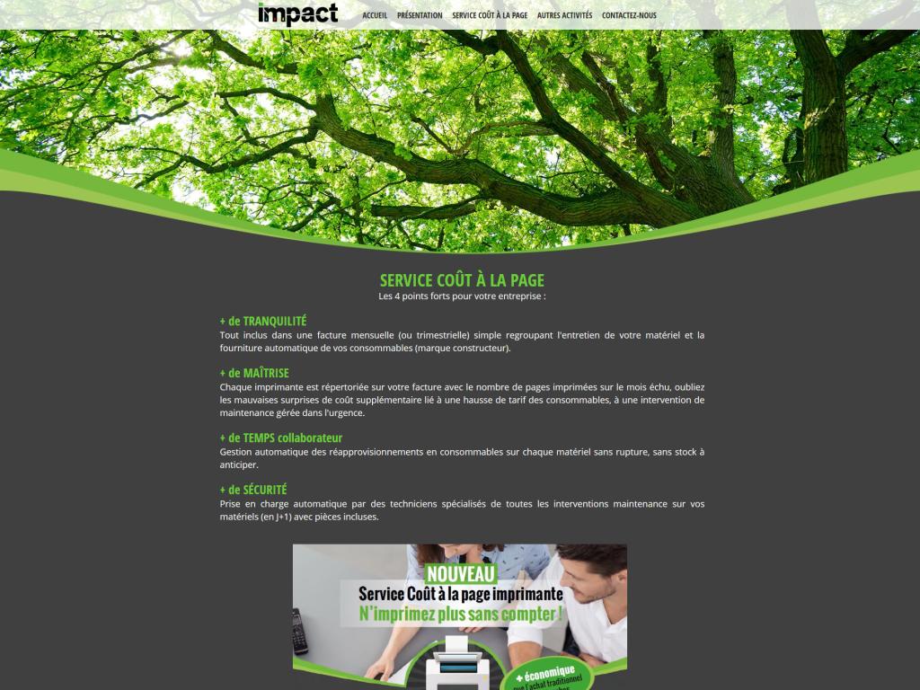 Page du service coût à la page sur le site internet de la société Impact