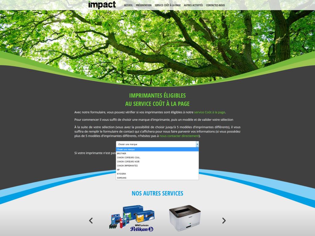 Page pour vérifier les imrimantes éligibles au service coût à la page sur le site internet de la société Impact