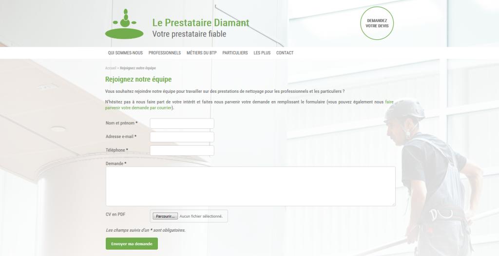 Formulaire de candidature spontanée avec CV sur le site du Prestataire Diamant