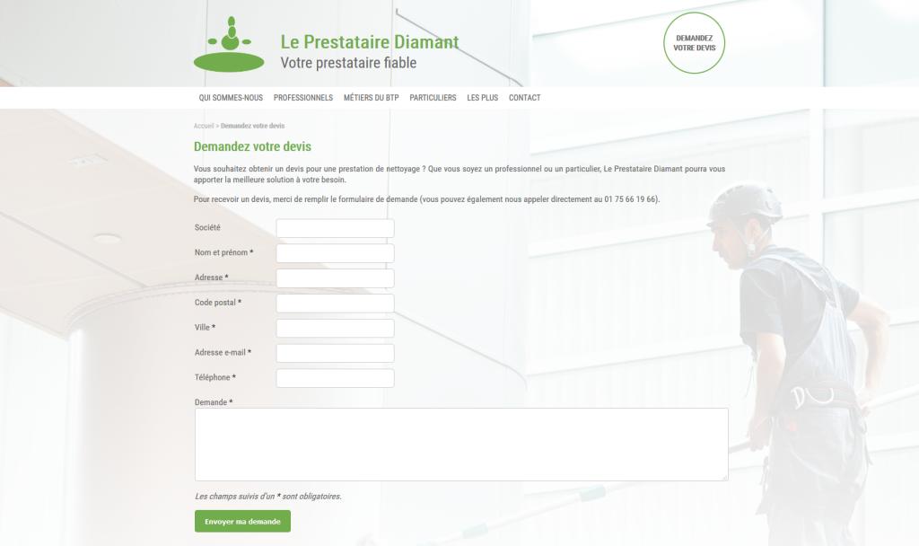 Formulaire de demande de devis sur le site internet du Prestataire Diamant