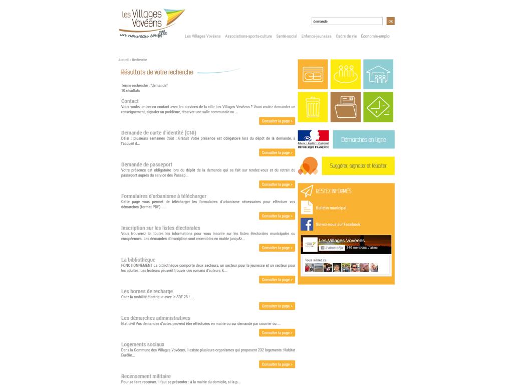 Formulaire de recherche interne sur le site des Villages Vovéens