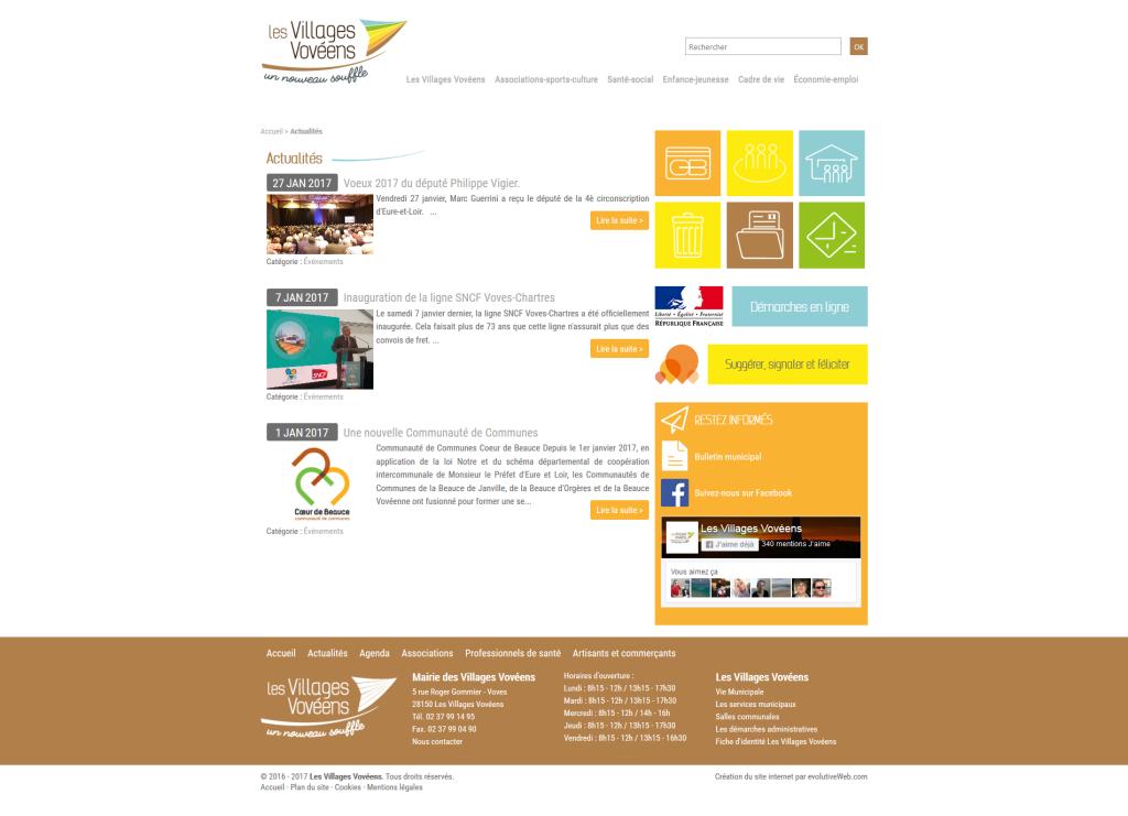 Partie actualités sur le site internet des Villages Vovéens