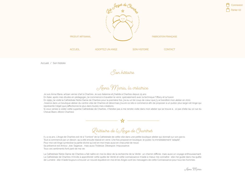 Page de présentation sur la boutique en ligne Les Anges de Chartres de La 12ème Porte