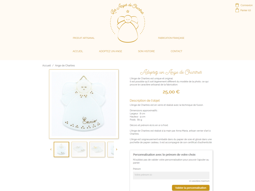 Page du produit sur la boutique en ligne Les Anges de Chartres de La 12ème Porte