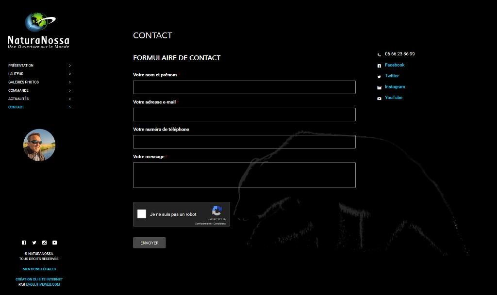 Formulaire de contact avec système anti-spam reCaptcha de Google