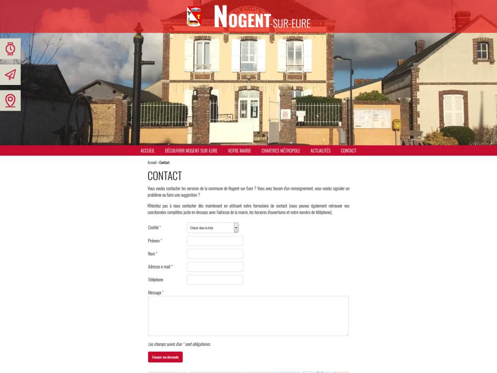 Page contact avec formulaire et carte de localisation sur le site internet de Nogent-sur-Eure