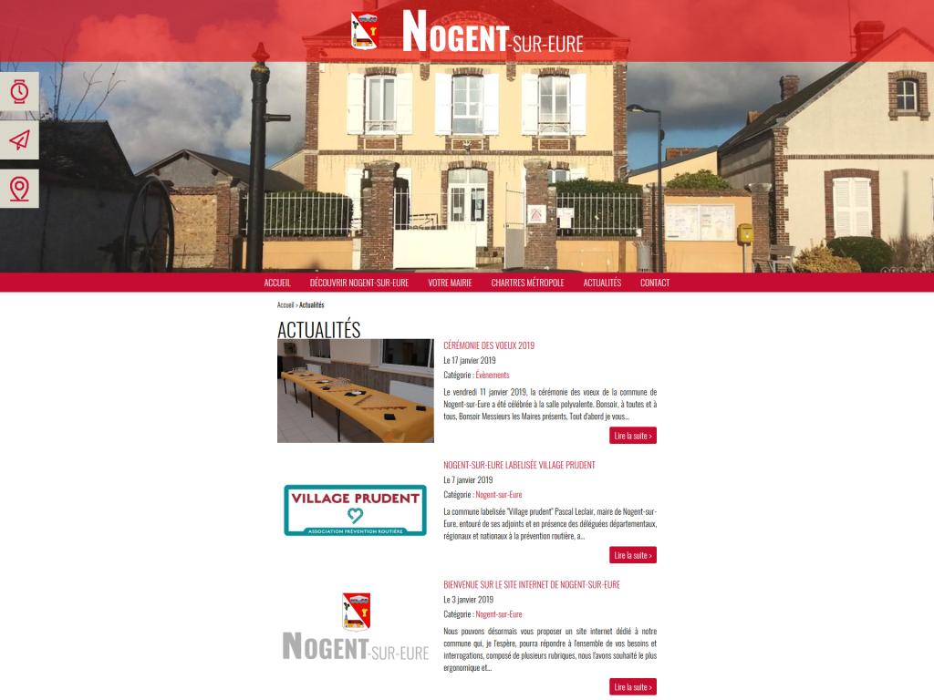 Page des actualités sur le site internet de Nogent-sur-Eure