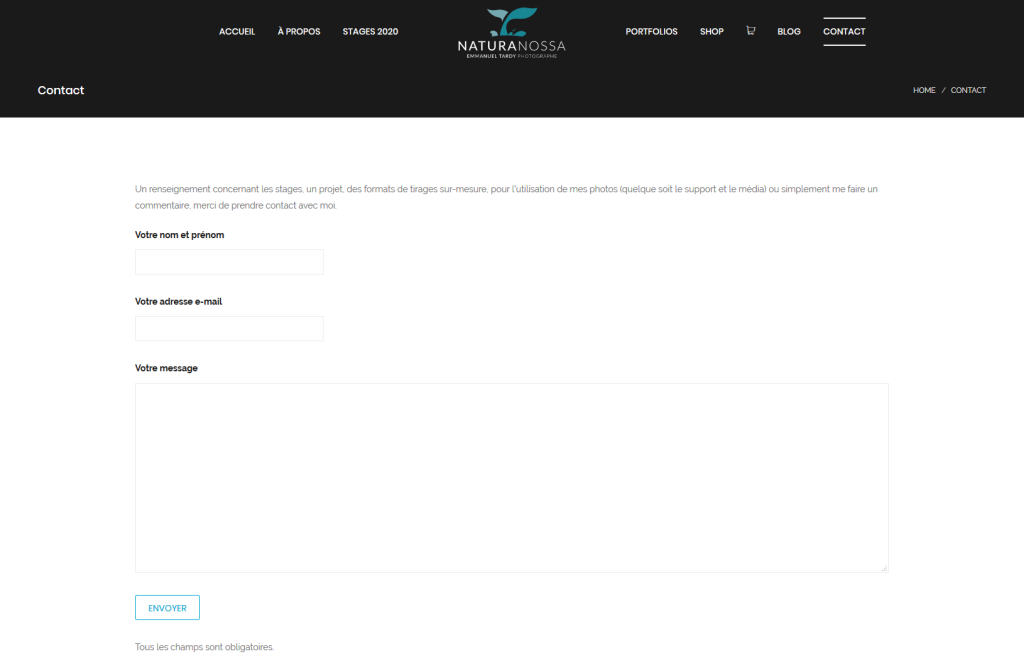 Page avec le formulaire de contact sur le nouveau site internet du photographe Emmanuel Tardy